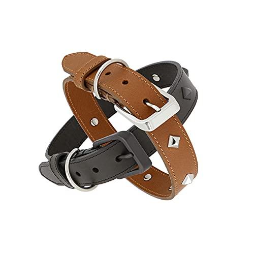 Collar para perro de piel lavable ajustable collares para perros Eco Sostenible resistente e impermeable con placa personalizable impermeable color marrón oscuro S