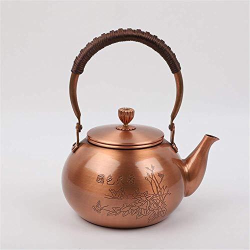 Teakettle - Tetera de cobre de cobre hecha a mano con cobre japonés de gran capacidad, 2000 ml, maceta de madera (color: maceta de fondo redondo)