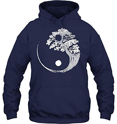 Yin Yang Bonsai Tree Japanese Buddhist Zen Vintage Style 15m36 (Hoodie;Navy;M)