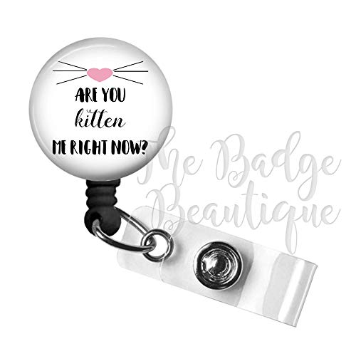 Funny Cat Retractable ID Badge Reel, Swivel Alligator Clip, 34in. Nylon Cord, Medical MD RN Nurse Badge ID, Badge Holder, ID Badge Pull, Office Employee Name Tag, Kitten Me