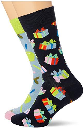 Happy Socks farbenfrohe & verspielte Happy Birthday Socks Gift Box 2-Pack Geschenkboxen für Männer & Frauen, Premium-Baumwollsocken, 2 Paare, Größe 36-40.