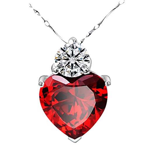 Gbell Red Garnet Heart Pendant 925 Silver Necklace - Valentine Crystal Chain Jewelry Charm Birthday Gifts for Girls Women Lady (Red)