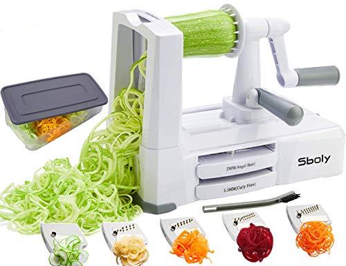 Sboly Spiralizer per verdure Affettatrice di verdure con 5 lame, Zucchine Spaghetti Maker Zoodle Maker Creatore di pasta vegetariano, Affettatrice di mandolino più resistente e pesante con contenitore