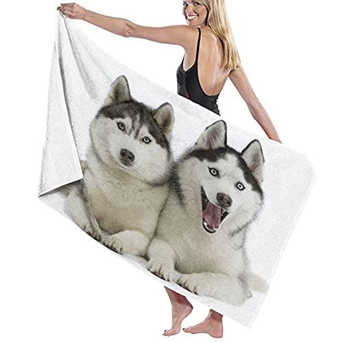 Toalla de baño con Tema Animal Blanco Vivo Dos Perros Husky siberianos...