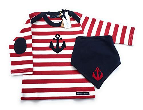 Maritimes Set Langarmshirt & Tuch Anker rot/weiß/blau - fair - Hamburg Geschenke, Geschenk zur Geburt, Babyset von ebbeundflut
