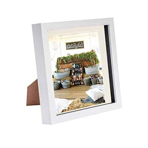 Nicola Spring 8 x 8 3D Shadow Box Photo Frame - Craft Display Picture Frame with 6 x 6 Mount - Glass Aperture - White/Ivory