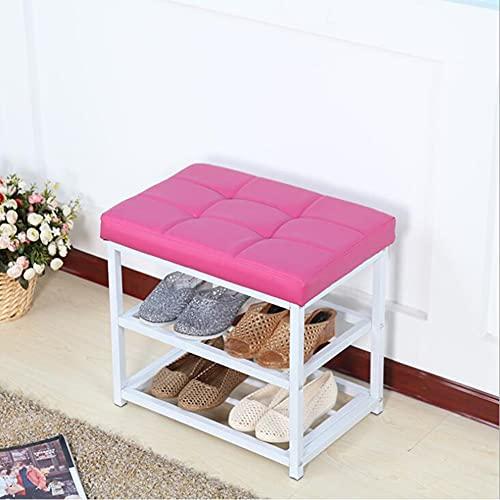 CAMILYIN Taburete de almacenamiento para cambio de zapatos, de piel sintética, de doble capa, de piel sintética, ahorra espacio, práctico reposapiés tapizado, asiento otomano, color rosa