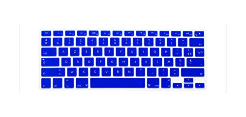 France French Us Layout Silicone Soft Color Keyboard Cover Skin For Mac Book Macbook Air 13.3 Pro Air 13' 15' 17'-Blue