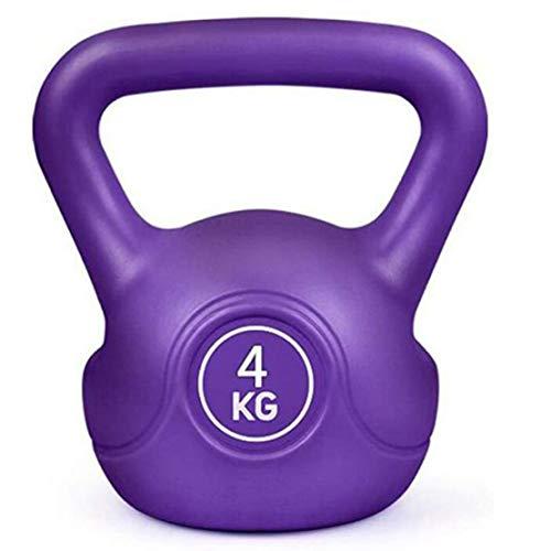 JLDN Vinyl Coated Pesa Rusa, portátil Antideslizante Kettlebell fisicoculturismo Equipo de Entrenamiento Entrenamiento Kettlebells con Pesas para la Fuerza y Entrenamiento Cardiovascular,Purple_6Kg