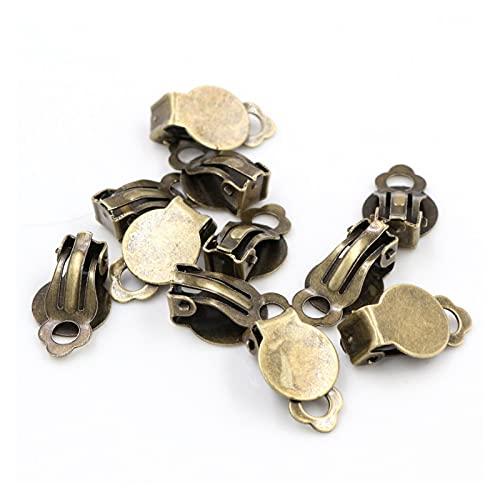 YSJJSQZ Base de cabujón 10 mm 50 unids/Lote 5 Colores Placa de Hierro, Pendientes de Oreja, Pendientes en Blanco/Basa de Ajuste, cabujones de Vidrio de 10 mm. (Color : Bronze)