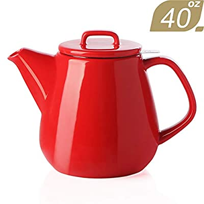 SWEEJAR Ceramic Teapot, Large Tea Pot with Stainless Steel Infuser, 40 Ounce, Blooming & Loose Leaf Teapot for Tea Lover, Gift, Family,(Red)