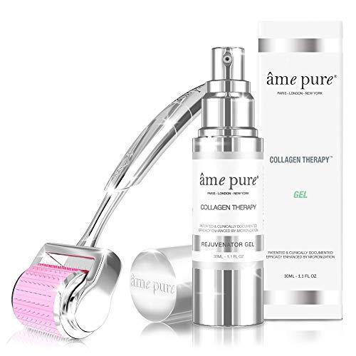 âme pure® CIT Face Roller Basic KIT Traitement de microneedling 100% naturel pour peau sensible pour une peau éclatante, sans pores visibles, sans ridules ni imperfections (Dermaroller 0.5mm + gel)