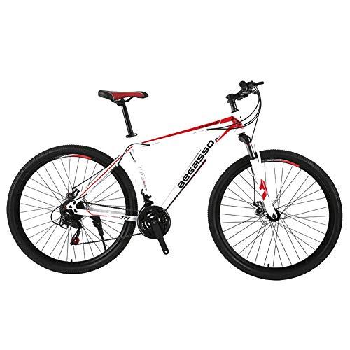 TYSYA Mountain Bike Uomo 21 velocità Doppio Freno Disco 29 Pollici Bici Città per Qualsiasi Terreno Solo Adulti Ciclismo All'aperto Coda Dura Sospensioni Anteriori,Bianca