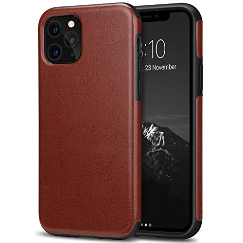 TENDLIN Compatible with iPhone 11 Pro Max Case Premium Leather TPU Hybrid Case (Brown)