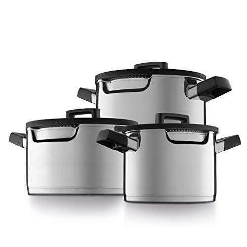 BergHOFF DOWNDRAFT - Batería de cocina de 6 piezas con vapor especial – Acero inoxidable – Para todo tipo de fuegos incluidos inducción
