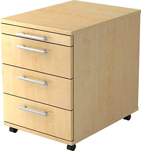 bümö® Rollcontainer in Ahorn mit 3 Schüben und Schreibwaren Schublade | Bürocontainer aus Holz | Tischcontainer mit Rollen | Büro Container für Ihren Schreibtisch