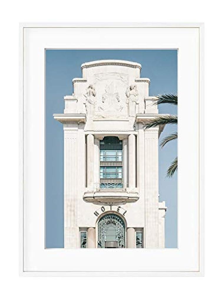 Palm Hotel Black Satin Aluminium Frame with Mount, Multicolored, 30x40