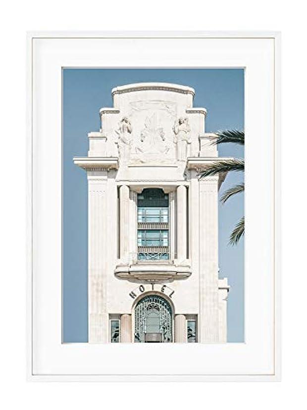 Palm Hotel Black Satin Aluminium Frame with Mount, Multicolored, 40x50
