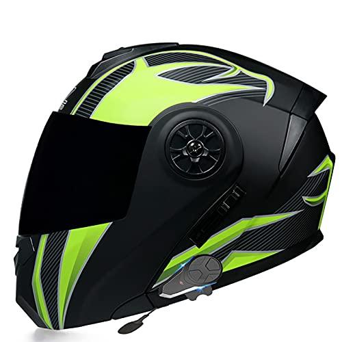 Casco de Moto Modular Bluetooth Integrado Cascos Masculinos y Femeninos con FM / MP3 Certificación ECE con Visera Antivaho Doble Frontal Abatible con Bluetooth,Casco de Carreras A,L=59~60cm
