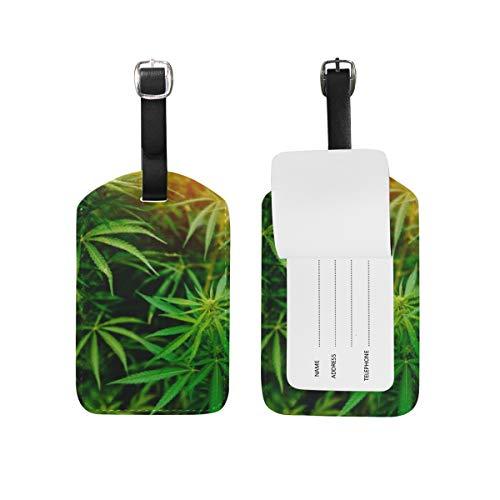 Etiqueta de equipaje de piel sintética con diseño de hojas de marihuana