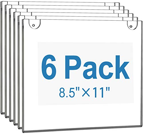 MaxGear Acrylic Sign Holder 8.5 X 11 Wall Mount Sign Holder Clear Plastic Picture Frames with 3M Tape Adhesive and Screws for Office, Home, Store, Restaurant - Landscape, 6 Pack
