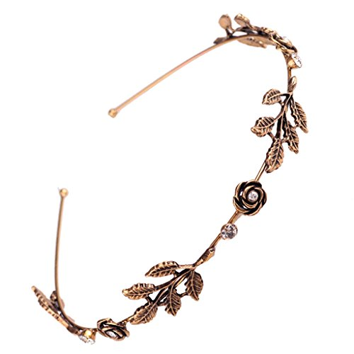 niumanery Fashion Women Leaf Rhinestone Head Chain Jewelry Headband Head Piece Hair Band Gold