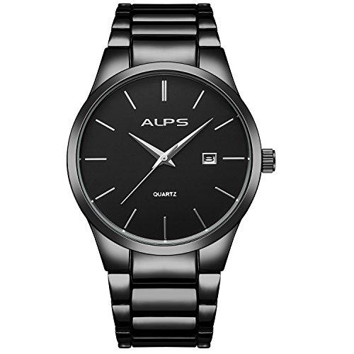 Orologi,Orologi da uomo, Orologio da polso in acciaio cronografo in acciaio inossidabile con braccialetto di collegamento (nero)