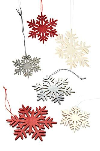 HEITMANN DECO Weihnachtsdeko aus Holz - Schneeflocken zum Aufhängen - Weihnachtsbaum Deko Weihnachtsdekoration - 24-TLG. Rot, Grau, Natur