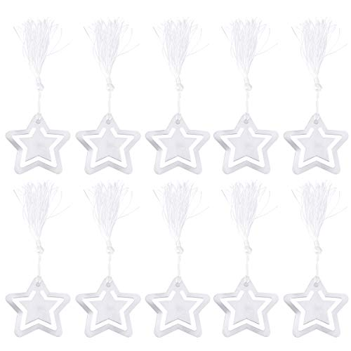 10 segnalibri a forma di stella in acciaio inox con nappa, regalo di laurea (argento)