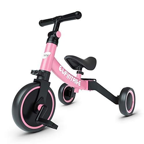besrey Triciclos para Niños, 5 en 1 Un Bici polivalente, Triciclo & Bicicleta & Carro de Equilibrio & Caminante, 2.8kg Ligero y portátil, Adecuado para niños de 1.5-4 años,Rosa