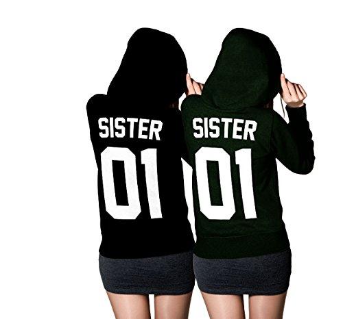 Sister Sister Hoodie Set - Best Friends Beste Freundin Pullover Schwarz (Sister Gr. M + Sister Gr. XS)