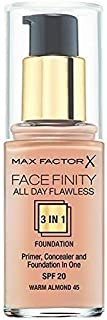 Max Factor FaceFinity All Day Flawless 3 In 1 Foundation, Warm Almond 45