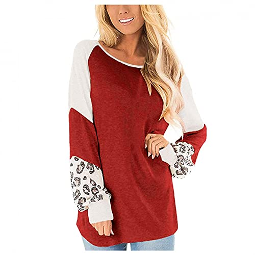 Women's Casual Long Sleeve Leopard Color Block Round Neck Loose Fit Blouses T Shirts Sweatshirts Pullover Tops Shirts Red