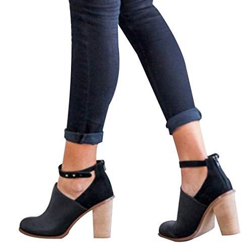Hffan T-Schuhe Damen Retro-Stil High Heels Stiefel Stiefeletten Damenschuhe Pumps Günstig Freizeitschuhe Elegant Schön Freizeit Casual PU-Leder Boots Shoes Schlupfstiefel (Schwarz,42)