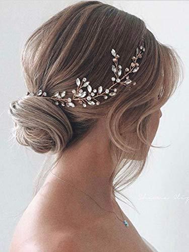 Simsly Diadema de novia de cristal para boda de color plateado, accesorio para el pelo para mujeres y niñas