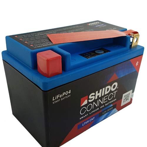 Batería shido Connect Lithium ltx9CNT/ytx9bs, 12V/8Ah (tamaño: 150x 87x 105)