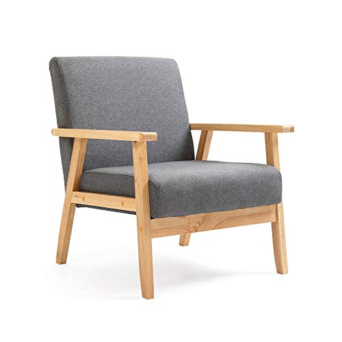 Mingone Gepolsterter Sessel aus Cocktailwannenstuhl Einzelsofa Eleganter Retro-Stuhl Massivholzstruktur für Wohnzimmerempfang Schlafzimmer (Grau,64,5 x 67 x 73,5 cm)
