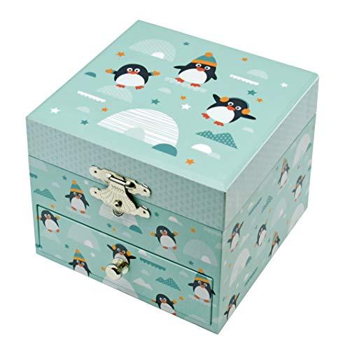 TrouSSELIER – Pingüino – Caja para tesoros y joyas musicales – Ideal regalo infantil – fosforescente – Brillante en la noche – Música pequeña de noche de Mozart – Color verde