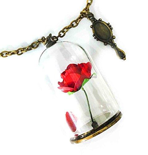 Blingsoul Beast Necklace Merchandise - Enchanted Beauty Rose Christmas Jewelry Women