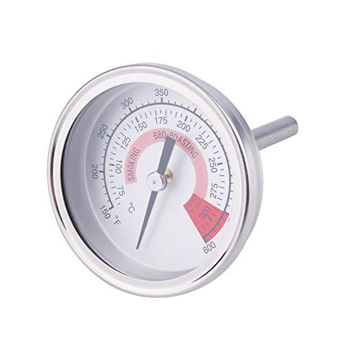 Goldyqin Backformen F/C 2,25 Edelstahl Barbecue BBQ Smoker Pit Grill Thermometer Temperaturanzeige Dual Gage 300 Celsius - Schwarz