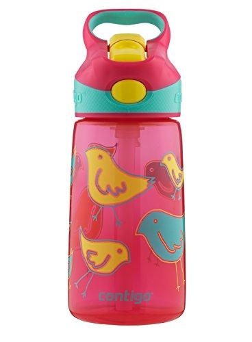 Contigo AUTOSPOUT Straw Striker Kids Water Bottle, 14 oz, Cherry Blossom Birds