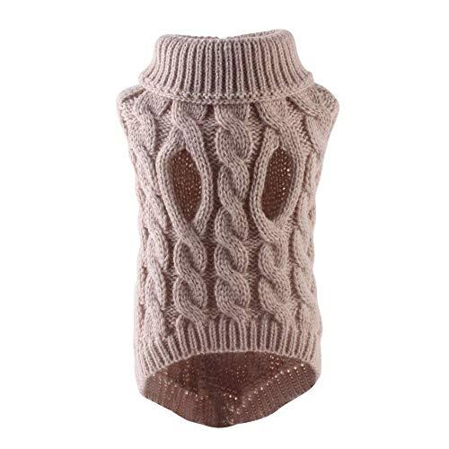 homchen Rollkragen-Hundepullover-Classic Kabelstrick-Hundepullover-Mantel, warmes Haustier, weiche Strick-Winterkleidung Outfits für kleine (Beige, L)