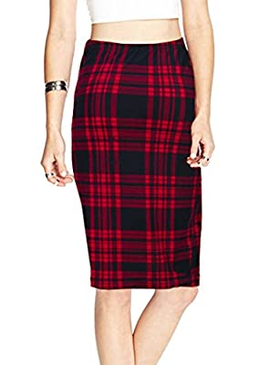 TEERFU Womens Plaid Pencil Skirt, Elastic Office Wear Knee Length Bodycon Skirt