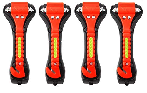 Iron Eagle Vehicle Safety Hammer, Car Escape Tool Seatbelt Cutter with Light Reflective Tape,Portable Emergency Life-Saving Hammer Tool Glass Window Punch Breaker (4 Pcs)