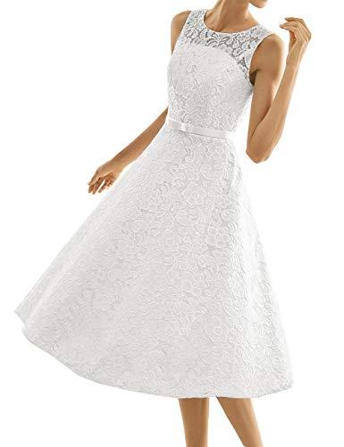 Kurze Brautkleider Spitze Vintage A-Linie Schlichte Hochzeitskleider Standesamt Wadenlang Cocktailkleider Partykleider Weiß 38