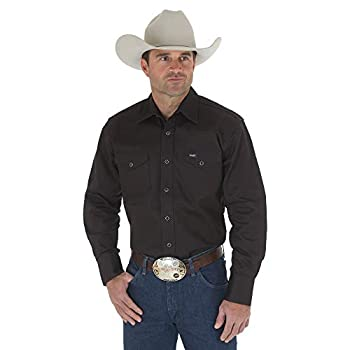 Wrangler Men s Authentic Cowboy Cut Work Western Long-Sleeve Firm Finish Shirt,Black,Large