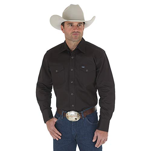 Wrangler Mens Cowboy Cut Western Two Pocket Long Sleeve Snap Work Shirt - Firm Finish - B&T,Black,X-Large Tall