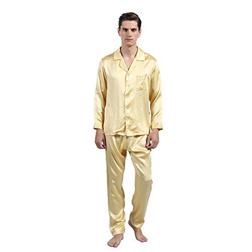OLESILK Pijama Leche Seda Natural 19 Momme Hombre, Masculino de Camisón Suave, Hombre Camisones Oro M