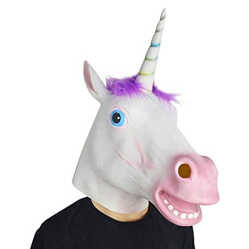 Grsafety2019 Mscara de caballo de unicornio de ltex de cabeza completa realista para disfraz de fiesta de Halloween, cosplay de mscaras, pelo morado