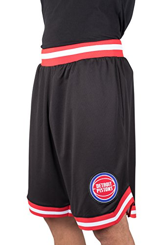 Ultra Game NBA Detroit Pistons Mens Woven Basketball Shorts, Team Color, Large
